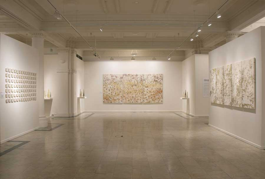 Gallery installation view of exhibition featuring artist collaboration at an art museum