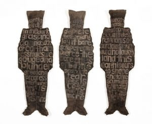 Sixfold Project artist, Louisa Ennis-Thomas, textile sculpture with poetry
