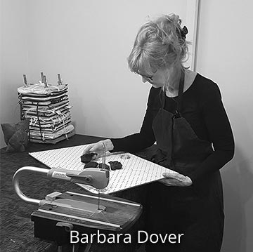 Barbara Dover at work in her artist studio, Australia