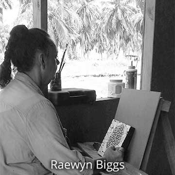 Raewyn Biggs at work in her artist studio, Pacific Islands