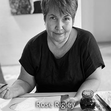Rose Rigley at work in her artist studio, Australia