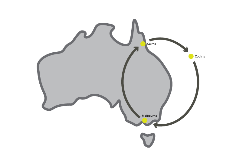 Map of Australia with Sixfold Project artist locations