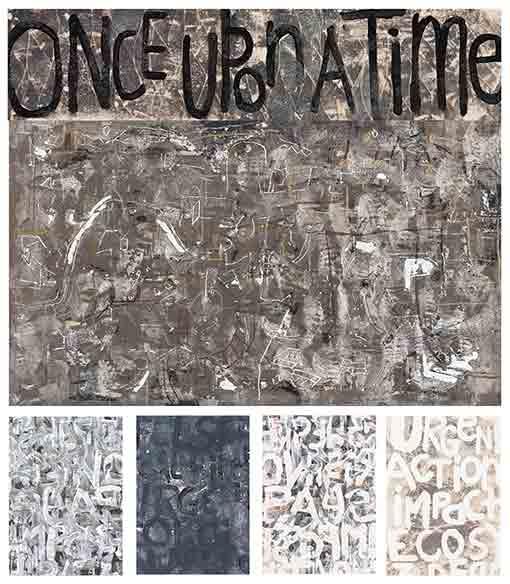 Sixfold Project exhibition, Vivo Palm Cove, Julie Poulsen, text painting